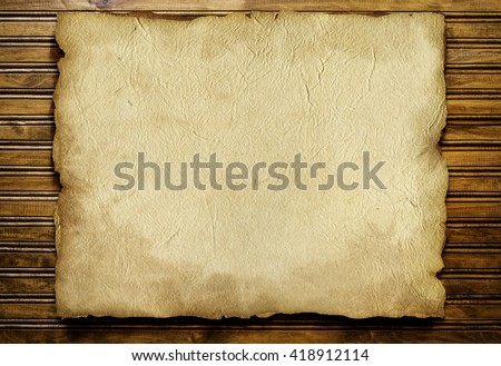 Old Paper sheet and wooden background. Retro composition with letters template