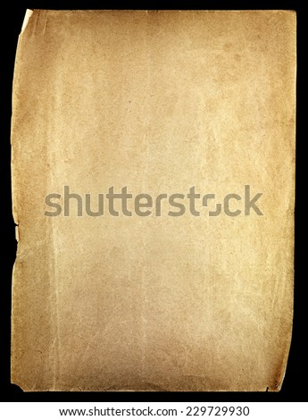 Old paper sheet isolated on black background - stock photo