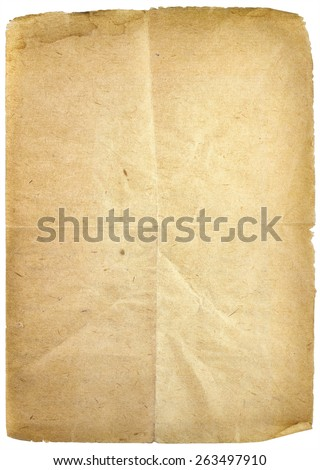 Old paper sheet isolated on white background - stock photo