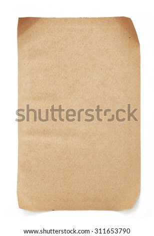 Old paper sheet isolated on white background