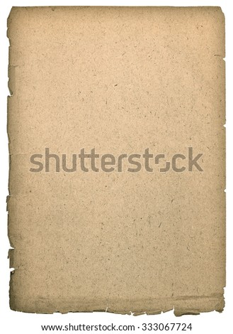 Old paper sheet with edges isolated on white background. Paper texture - stock photo