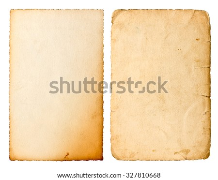 Old paper sheet with edges isolated on white background. Used cardboard texture. Scrapbook object - stock photo