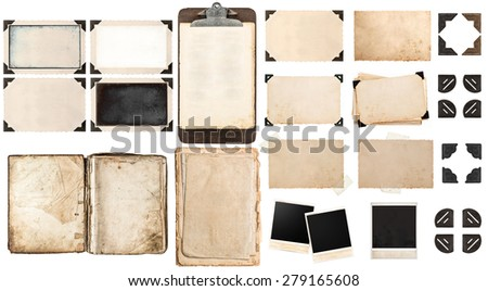 Old paper sheets, book, vintage photo frames and corners, antique clipboard isolated on white background - stock photo