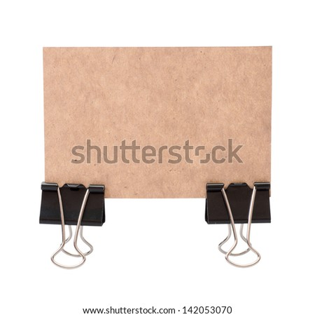 Old Paper sheets for letter with clip isolated on a white background - stock photo
