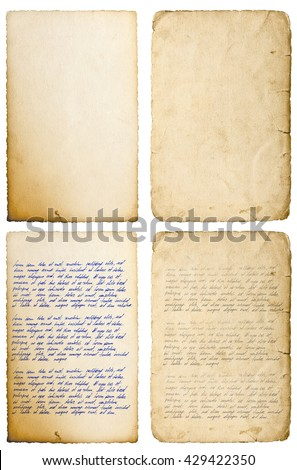 Old paper sheets with edges isolated on white. Handwritten letter. Latin text Lorem ipsum. Handwriting. Calligraphy. Manuscript. Script. Abstract texture background - stock photo