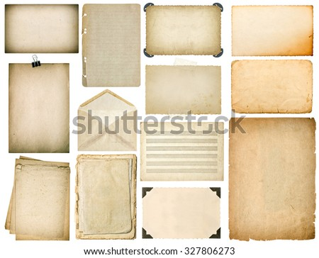 Old paper sheets with edges. Vintage book pages, cardboard, music notes, photo frame with corner, envelope isolated on white background