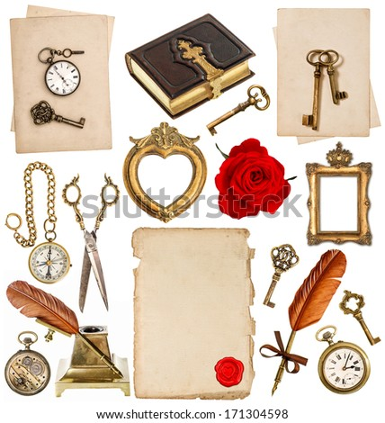 old paper sheets with vintage accessories isolated on white background. antique clock, key, postcard, photo album, feather pen, inkwell, glasses, compass, scissors, flower. objects for scrapbooking - stock photo
