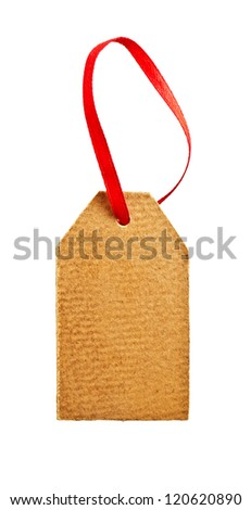 Old paper tag with red ribbon isolated on white - stock photo