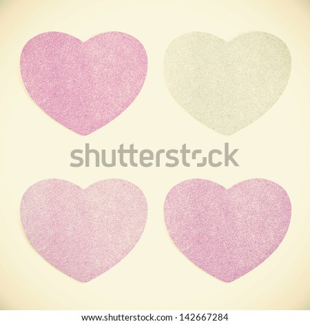 Old Paper texture ,heart on vintage tone  background - stock photo