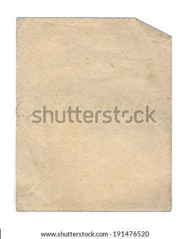 Old paper texture. Light brown piece of obsolete page. - stock photo