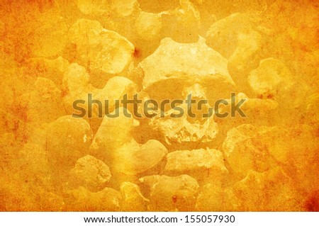 old paper texture with skull - stock photo