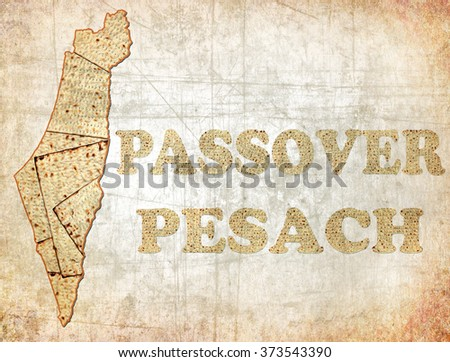 Old paper textured background with image of Israel map and words Passover and Pesach (in Hebrew ) made of Matzoh ( matzah or matzo) is Jewish flat dry bread and symbol of Traditional Jewish holiday - stock photo