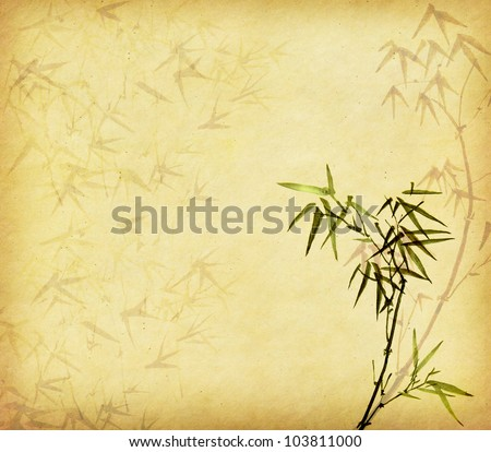 old paper with bamboo branches