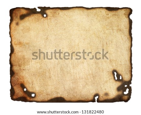 Old  paper with burnt edges isolated on white background - stock photo