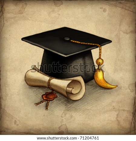 Old paper with drawing of graduation cap and diploma - stock photo