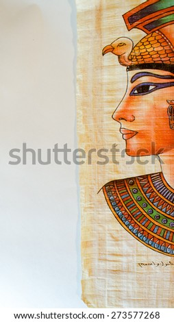 Old Paper With Egyptian Queen Cleopatra - stock photo