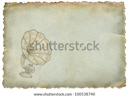 Old paper with gramophone - stock photo
