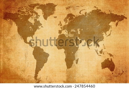 old paper with illustration of a globe - stock photo