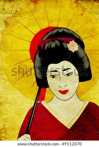 old paper with japanese illustration - stock photo
