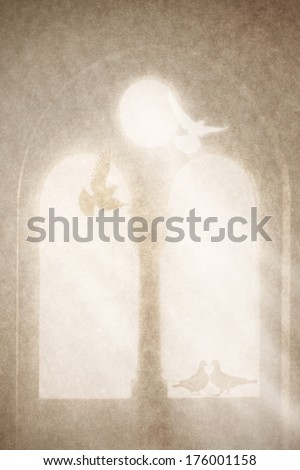old paper with mediaeval window and pigeons  - stock photo