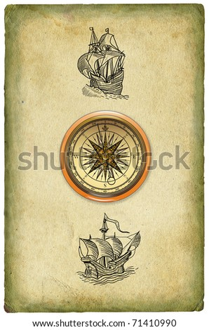 Old paper with sailboats illustration - stock photo