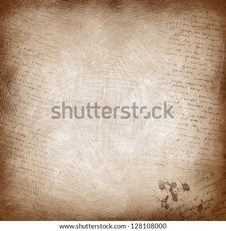 Old paper with scratches and calligraphy - stock photo