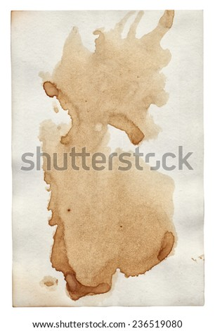 Old paper with scratches and stains texture isolated  - stock photo