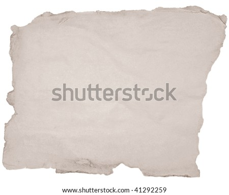 old paper with torn edges over white - stock photo