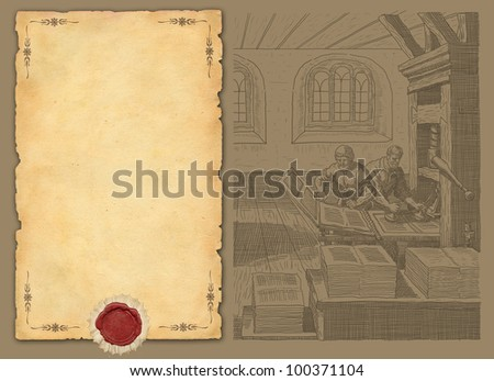 Old paper with typography workshop illustration - stock photo
