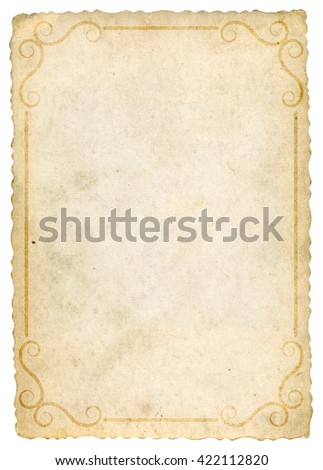 old paper with vintage frame - stock photo