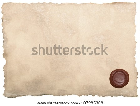 Old paper with wax seal - stock photo