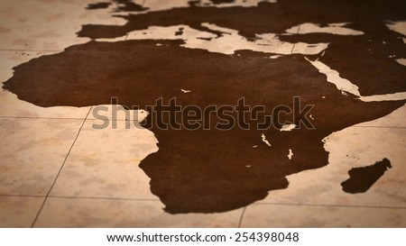Old paper World Map, Macro, Africa, B. - stock photo