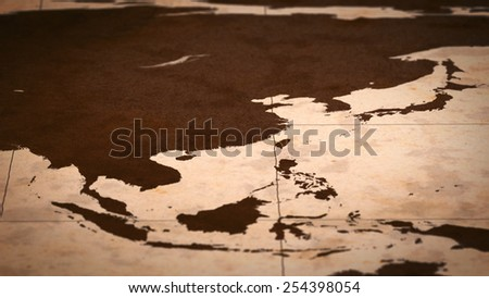 Old paper World Map, Macro, East Asia B. - stock photo