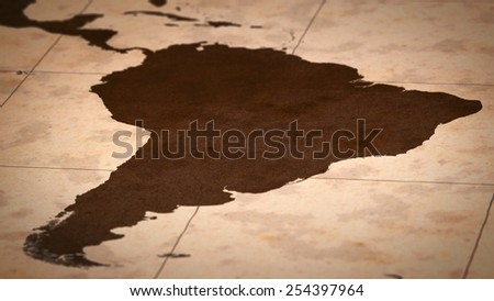 Old paper World Map, Macro, South America, B. - stock photo