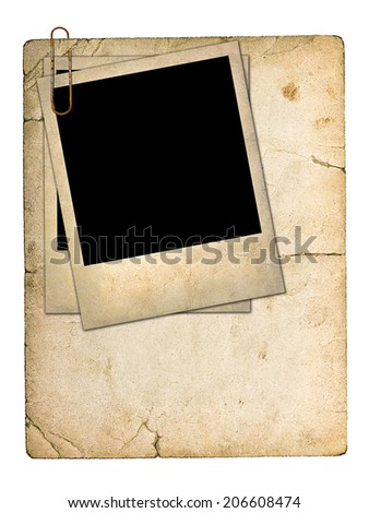 old paperboard card and an old photo isolated on white background - stock photo