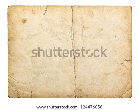 old paperboard card isolated on white background - stock photo