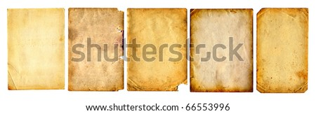 old papers pages set isolated on the white - stock photo