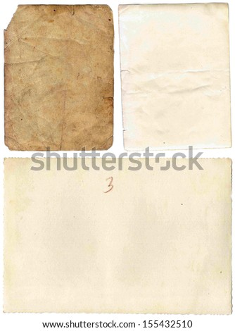old papers set isolated on white background - stock photo