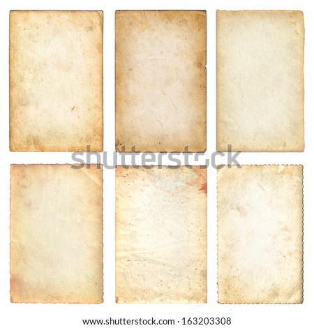 Old papers set isolated on white background with clipping path. Various old paper sheets - stock photo
