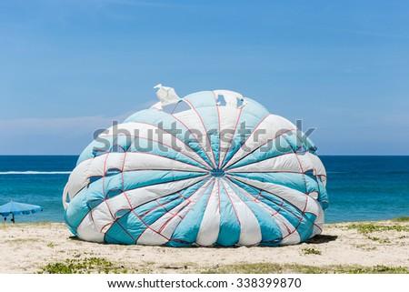 Old parasailing at Karon Beach in Phuket - Thailand - stock photo