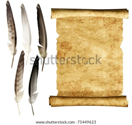 Old parchment and collection of feathers. Isolated over white - stock photo