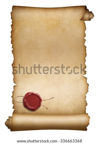 Old parchment or manuscript with red wax seal isolated - stock photo