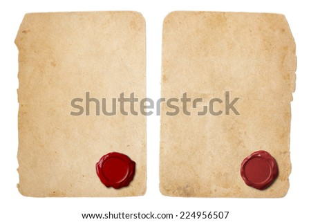 Old parchment paper set with red wax seal