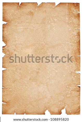 Old parchment paper with shabby edges - stock photo