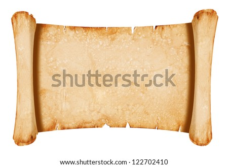 Old parchment paper with shabby edges - isolated on white - stock photo