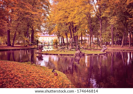 Old park in fall. Germany, Europe
