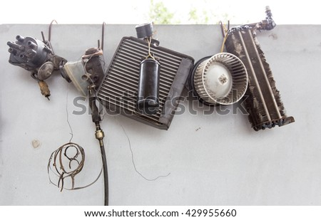 old parts of car - stock photo