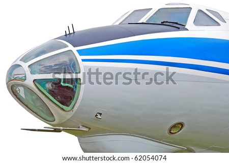 Old passenger aircraft, closeup, isolated on white background - stock photo