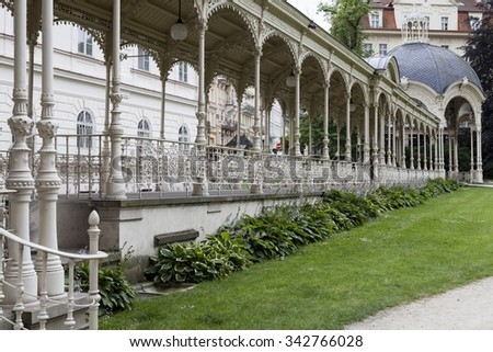 Old pavilion in Karlovy Vary in Czech Republic - stock photo