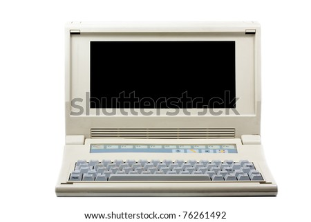 Old PC computer isolated on white - stock photo
